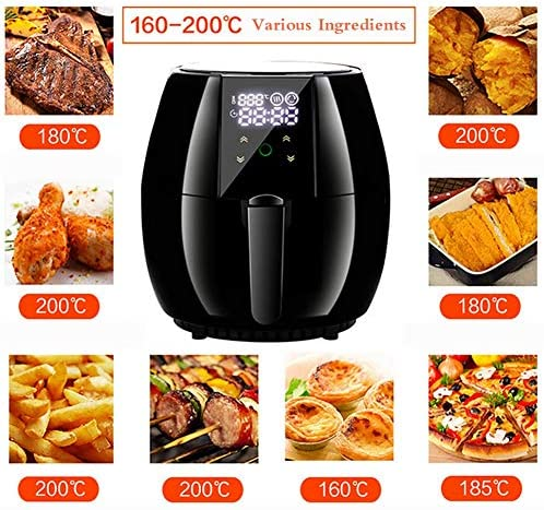 ZZHMW Air Fryer, 4.5Qt Elektrische Hot Air Fryers Oven Oilless Cooker, Voorverhitting, LCD Digital Touchscreen, Nonstick Basket, 1200W.