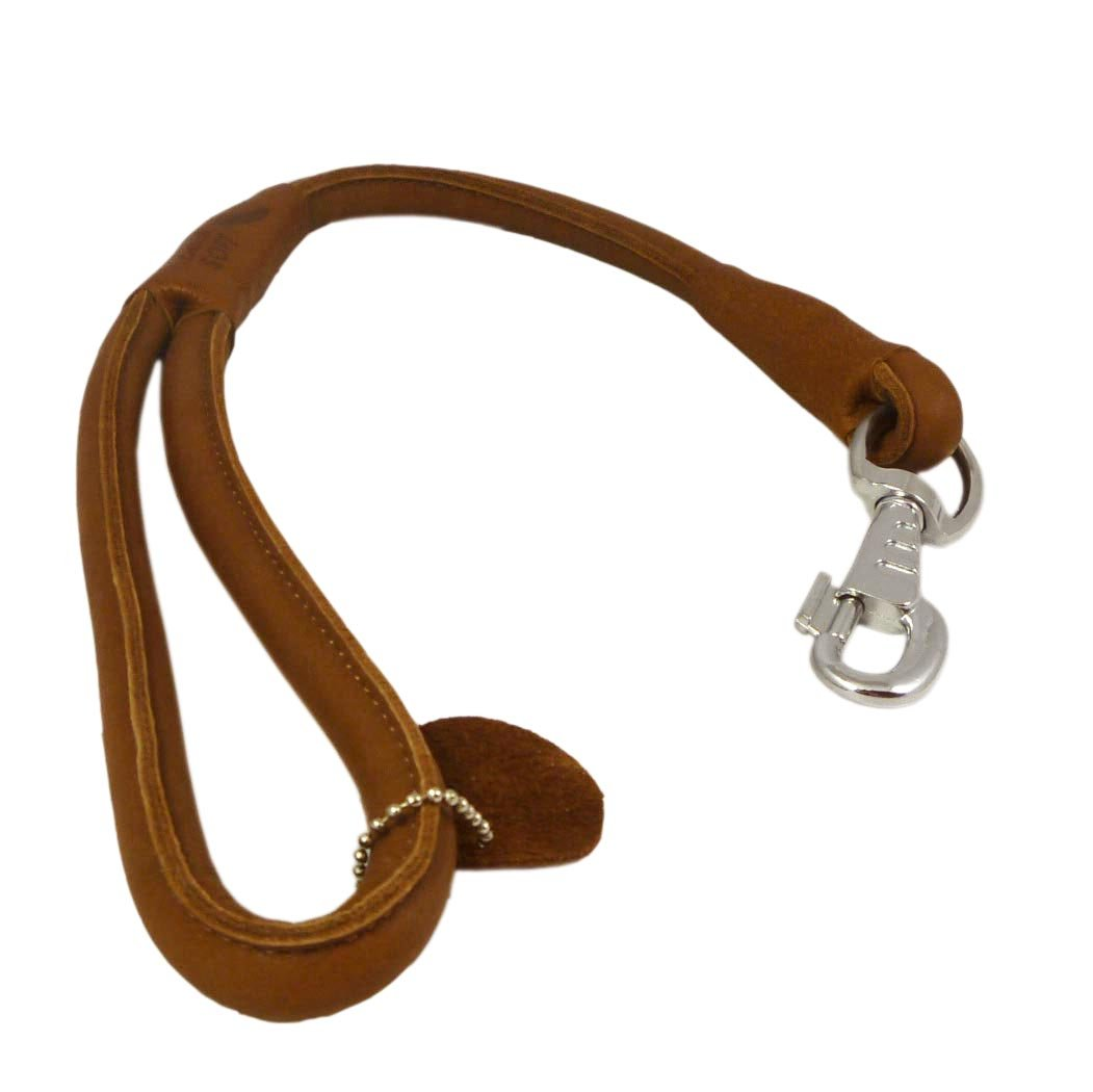 Brown Round Genuine Rolled Leather Dog Short Leash 20'' Long 5/8'' Wide Lead for Large Breeds
