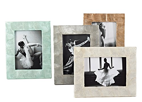 Capiz Design Photo Frame, 5''x7'' (Aqua) by fenncostyles.com