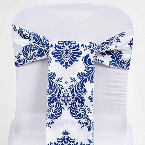 Mikash 75 pcs Damask Flocking Chair Sashes Bow Ties Wedding Party Event Decorations | Model WDDNGDCRTN - 11359 |