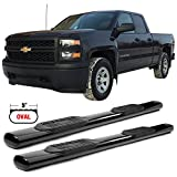 Side Step Bars Fits 2007-2017 Chevy Silverado & GMC Sierra 1500 2500 3500 Extended Cab | Black Powder Coat Finish T304 Stainless Steel Running Boards By IKON MOTORSPORTS | 2008 2009 2010 2011 2012