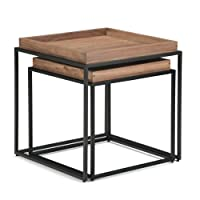 Deals on Simpli Home Carter 22 in Square 2-Piece Nesting Tray Top Table
