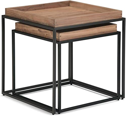 Simpli Home Skyler Solid Mango Wood and Metal 25 inch wide Rectangle Modern Industrial Nesting 2 Pc Side Table in Dark Cognac Brown, Fully Assembled, for the Living Room and Bedroom