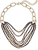 Robert Lee Morris Soho Mixed Beaded Suede Multi Row Necklace, Gold