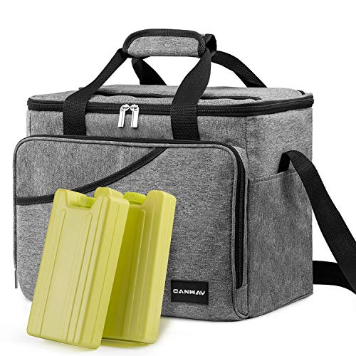 Bag Ice Cooler (CANWAY Cooler Bag 40-Can Large, Insulated Soft Sided Cooler Bag with 2 Ice Packs for Outdoor Travel Hiking Beach Picnic BBQ Party, Gray)
