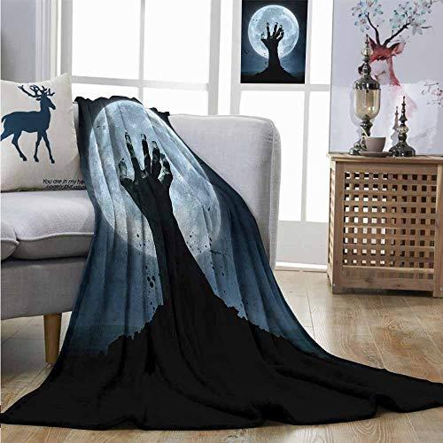 Lightweight Blanket Halloween Realistic Zombie Earth Soil Full Moon Bat Horror Story October Twilight Themed Soft Blanket Microfiber W70 xL93 Blue Black -