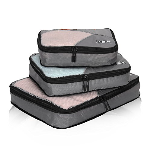 (Hynes Eagle Travel Compression Packing Cubes Expandable Packing Organizer 3 Pieces Set Grey)