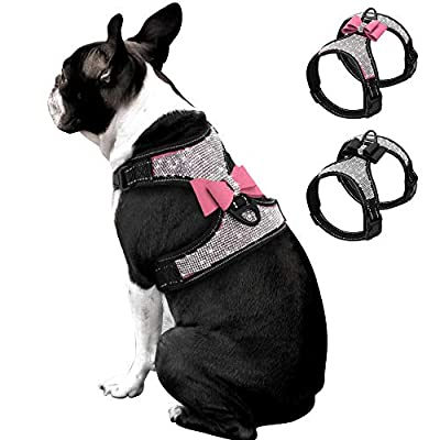 Beirui Rhinestone Dog Harness - No Pull Reflective Bling Nylon Dog Vest with Sparkly Bow Tie for Small Medium Large Dogs Walking Party Wedding,Black,Pink,S,M,L