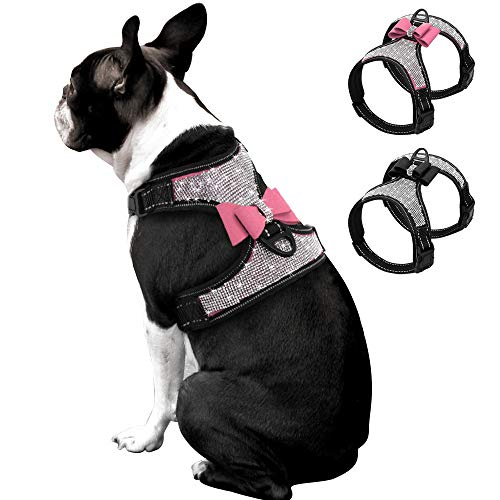 (Beirui Rhinestone Dog Harness - No Pull Reflective Bling Nylon Dog Vest with Sparkly Bow Tie for Small Medium Large Dogs Walking Party Wedding,Pink,S)