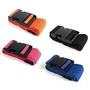AODOOR Koffergurt, 4 Stück Gepäckgurt Einstellbare Kofferband Travel Accessories Kofferband Gepäckband zum Sicheren…