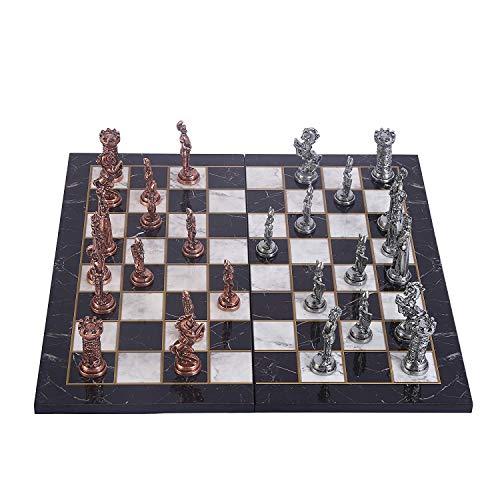 GiftHome British Redcoats juego de ajedrez de metal de cobre envejecido para adultos, piezas hechas a mano y diseño de…