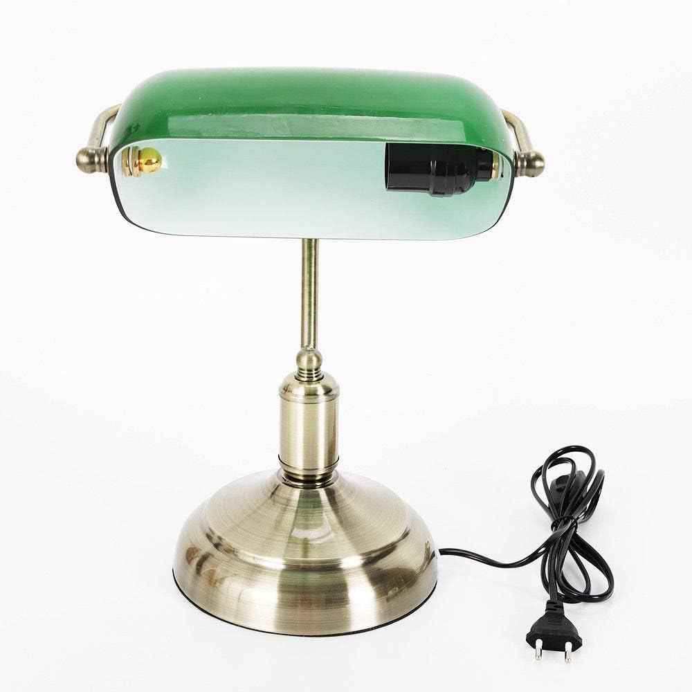 RANZIX - Lámpara de mesa estilo banquero con pantalla de cristal verde, soporte de latón pulido, lámpara de mesa retro, lámpara de biblioteca, casquillo E27, 42 W, altura 37 cm