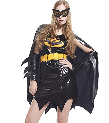Bat Woman 3 Piece Adult Women's Costum for Halloween and Cosplay Party M-XL (Small) (One (Batman Female Costumes)