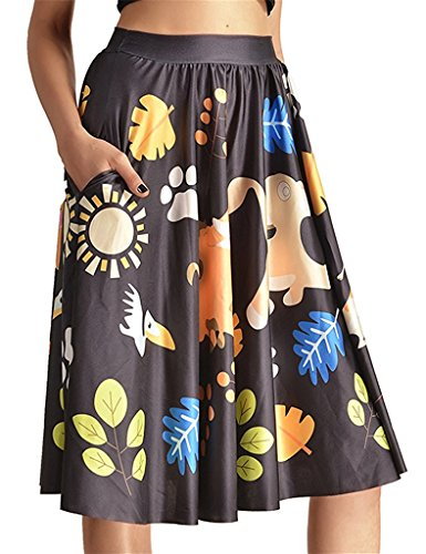 Tobyak Women's Printed A-line Pleated Flared Midi Skater Skirt With Pockets Pattern #7X-Large - Mail Rates Canada