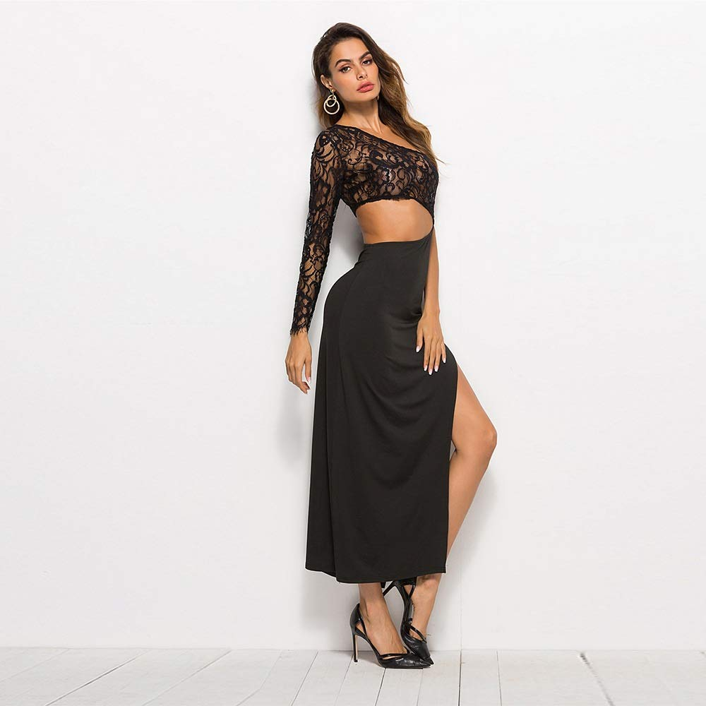 Black JiaCH Single Sleeve Shoulder Black Lace Panel Sexy Solid color Irregular Splice High Waist Hollow Sexy Vacation Holiday Dinner Women Dress Spring Summer