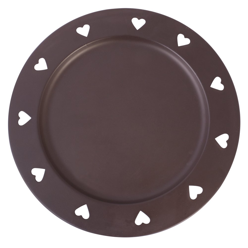 SINGLE - Country Style Antique Brown Charger Plate with Cutout Heart Edge Design - High Quality Powder Coated Iron Decorative Plate Ideal for Summer Alfresco Barbecue Dining - Exclusive to Dibor! - A Wonderful Gift Idea for a Keen Entertainer for a Weddng,