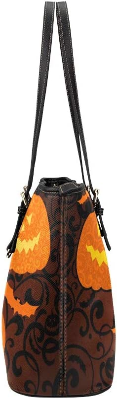 Happy Halloween Yellow Pumpkin Large Soft Leather Portable Top Handle Hand Totes Bags Causal Handbags With Zipper Shoulder Shopping Purse Luggage Organizer For Lady Girls Womens Work