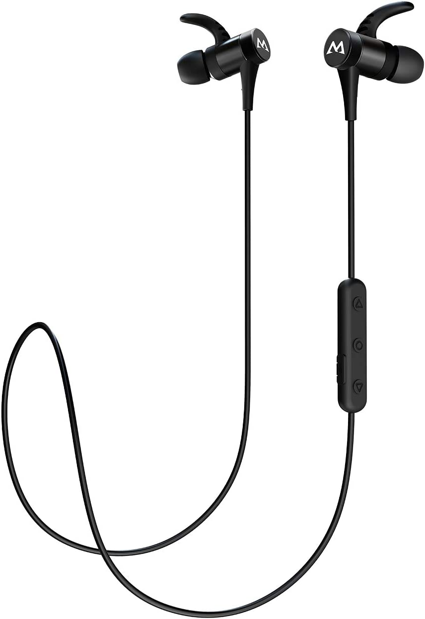 Mpow S8 Bluetooth Earbuds IPX7 Waterproof 10 Hours Playtime, Wireless Headphones Magnetic, Wireless Earbuds w CVC6.0 Noise Cancelling Mic, Sport Bluetooth Earphones for Running, Workout, Black