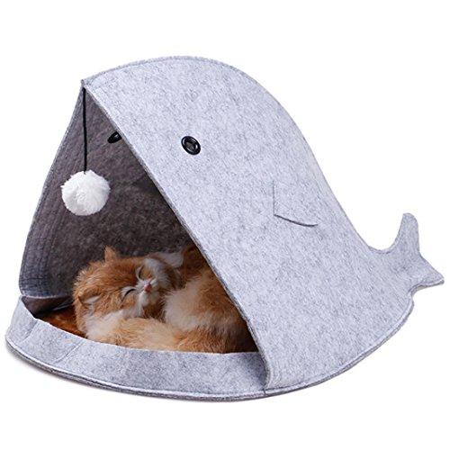 Price comparison product image COPPEN 2018 New Shark Shape Dog Beds Warm Soft Foldable Dog House (Gray)