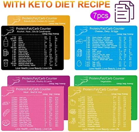 Keto Cheat Sheet Magnets, Set of 7 Ketogenic Diet Food List Charts Quick Reference Magnetic Fridge Keto Cookbook Recipes for Commonly 119 Ingredients, Easily Following Meal Plan Guide for Keto Dieters