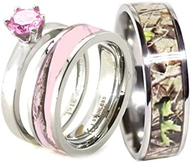Amazon Com His Hers 3 Pc Camo Pink Stainless Steel And Titanium