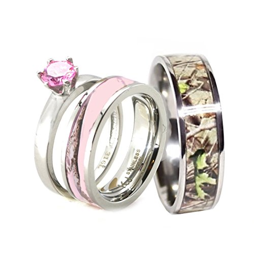 His & Hers 3 pc Camo Pink Stainless Steel and Titanium Engagement Wedding Rings Set (Size Men 10; Women 8)