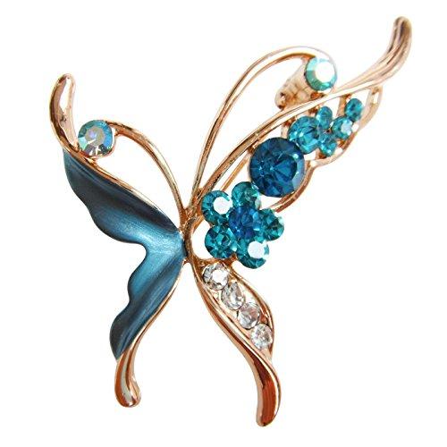 - Navachi 18k Gold Plated Blue Enamel Crystal Butterfly Az7153b Brooch Pin