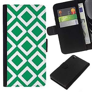 Stuss Case / Funda Carcasa PU de Cuero - Cuadros vintage papel pintado verde - HTC DESIRE 816