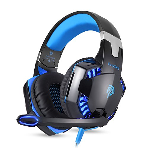 EasySMX G2000 Over Ear Stereo Gaming Headset Wired Headphone with Adjustable Headband and Microphone Mic USB and 3.5mm Audio Connector LED Indicator Noise Isolation/In-line Volume Control for PC Gamer by EasySMX