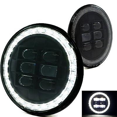 """2PC Black 7"""" Projector Headlight LED DRL Jeep Wrangler JK TJ 76 Watts"""