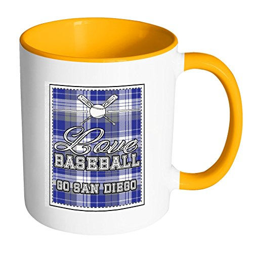 Love Baseball Go San Diego Fan Gifts Checkered Plaid Cool 11oz 7Colors Mug - San Diego Padres Cool