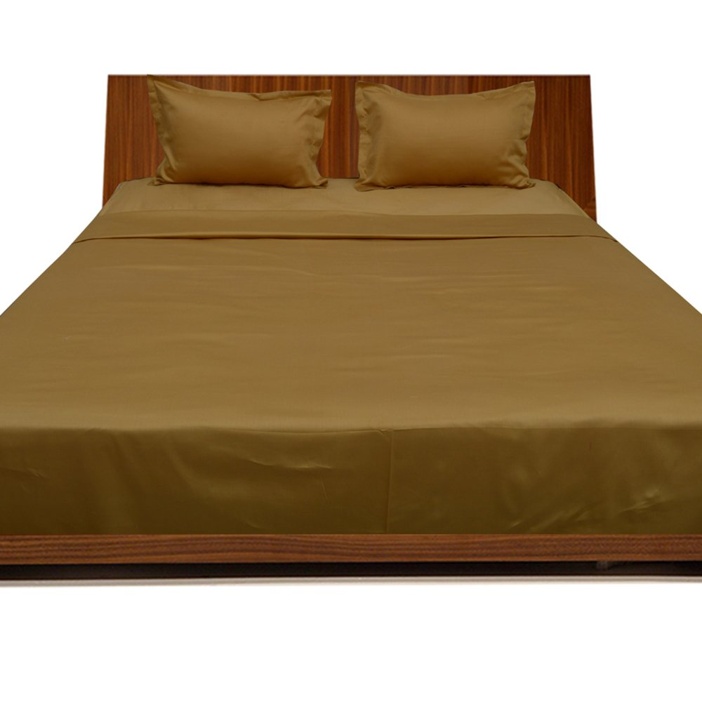 Relaxare Full XL 300TC 100% Egyptian Cotton Gold Solid 4PCs Sheet Set Solid (Pocket Size: 17 inches)