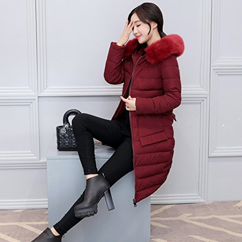 Cappuccio Womens Lungo Rosso Winter Con Giacca Autumn Cappotto Bigood Cax4qFwq