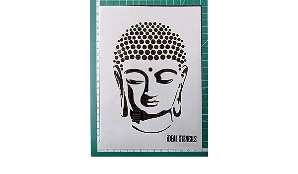 Buda Retrato Plantilla Muebles Pintura Dise/ño en Paredes Tela Pintura Plantilla para Arte Manualidades y Decoraci/ón Reutilizable Plantilla Hecho de Lavable Pl/ástico