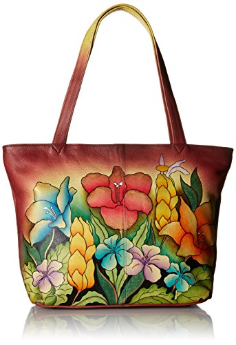 Leather Hand Flower Wallet Painted (Anna by Anuschka Genuine Leather Convertible Large Tote | Hand-Painted Original Artwork | Mediterranean Garden)