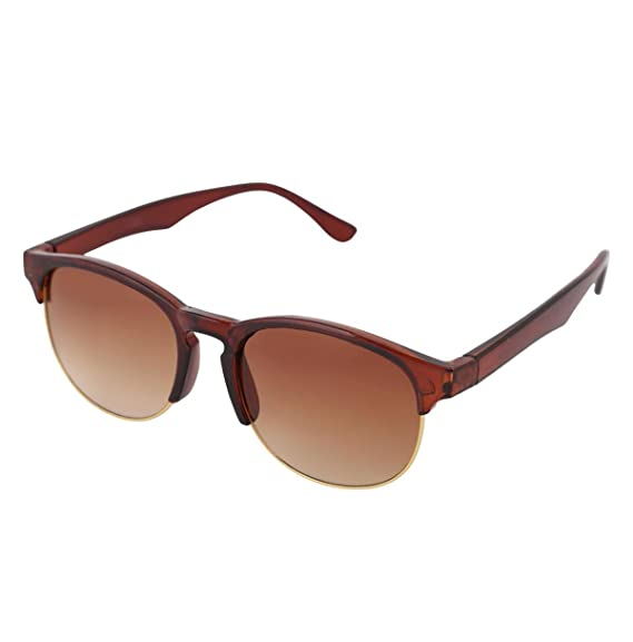 d861aae1396c5 Gansta UV Protected Brown   Gold Oval Clubmaster Sunglasses for Men Women  (GN-11071-Brn