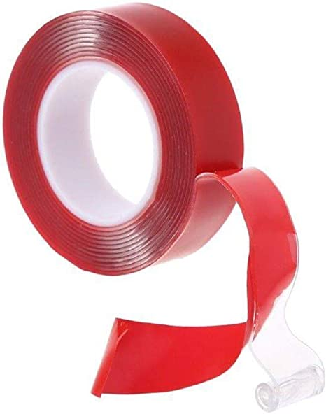 2 Pack 3 m Cinta Adhesiva De Doble Cara Roja, acrílico Gel Transparente Resistente Auto verlegenheit, estación y waschanlage fijo unión fuerte doble cinta adhesiva para Auto, tiras led de montaje, casa,