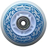 you-beat-you-land Light Up Led Inline Skates Pu Wheels Outdoor and Indoor Rubber Wheels Pack of 4 Blue-76mm