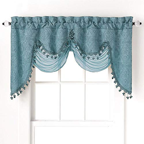 GoodGram Ultra Elegant Clipped Jacquard Georgette Fringed Window Valance with an Attached Sheer Swag Assorted Colors (Turquoise) (Turquoise Valances For Windows)