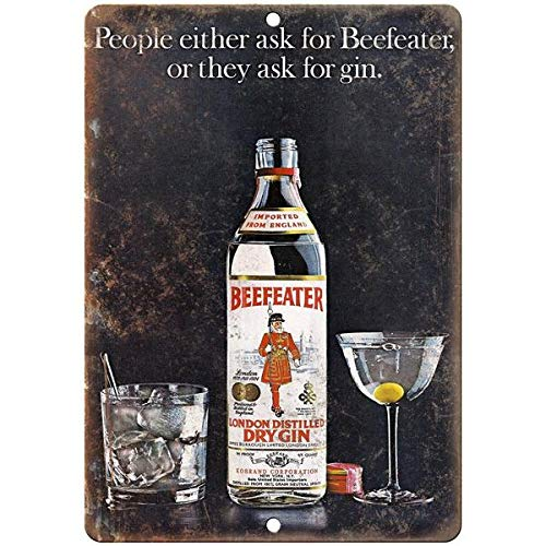 Beefeater Distilled Dry Gin Vintage Liquor Ad Decorative Aluminum Metal Sign E