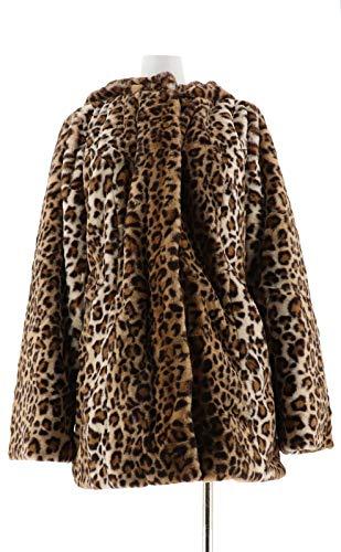 Dennis Basso Zip Front Faux Fur Coat Hood Waist Brown Leopard L New A300760