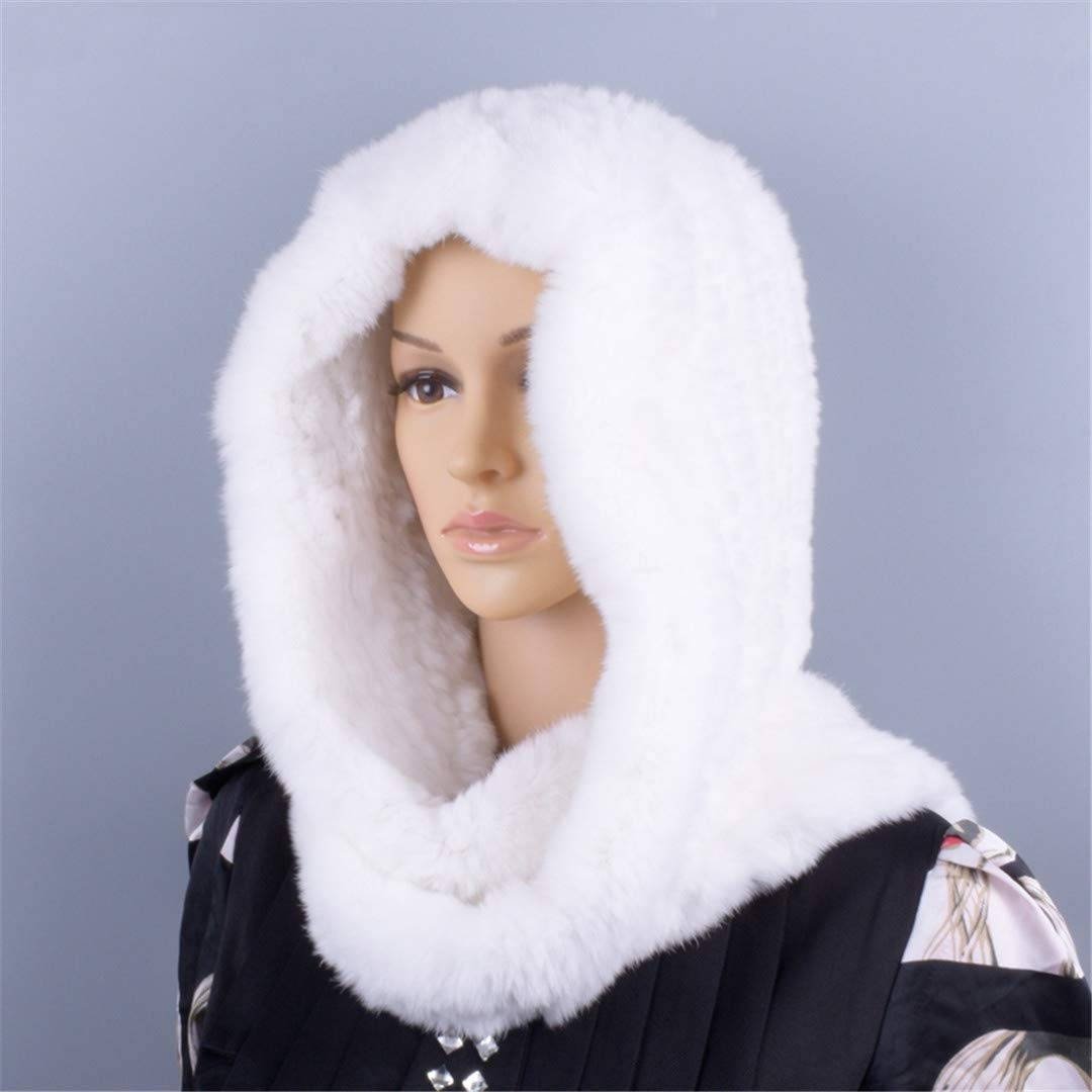 Knitted Fur Hood Real Rex Scarf Hat For Women Winter Snow Warm Large-Knitted Hat Black 56to59cm by Morussnta (Image #7)