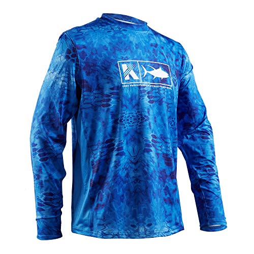 (Performance Fishing Shirt Men UPF 50 UV Sun Protection Long Sleeve Quick Dry Mesh Cooling Rash Guard Kryptek Loose Fit Blue Large)