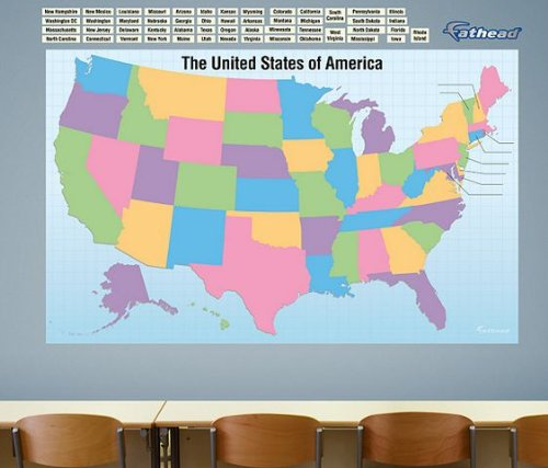 - FATHEAD Dry Erase: USA Map State Names-Giant Removable Wall Graphic, Multicolor