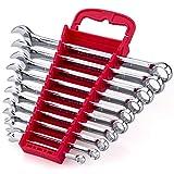 Max Torque 10-Piece Premium Combination Wrench Set, Chrome Vanadium Steel, Long Pattern Design | Include Metric Sizes 6, 8, 10, 11, 12, 13, 14, 15, 17, 19mm with Storage Rack Organizer