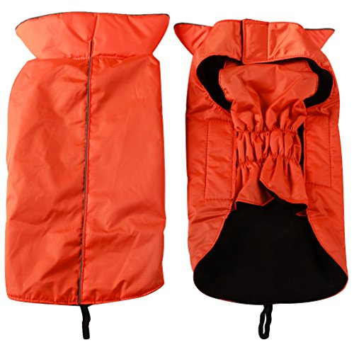 JoyDaog Fleece Lined Warm Dog Jacket for Winter Outdoor Waterproof Reflective Medium Dog Coat Orange L ()