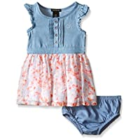Calvin Klein Baby-Girls Denim Dress with Crinkle Georgette Skirt and Lining, ...