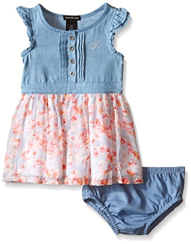 Calvin Klein Baby-Girls Denim Dress with Crinkle Georgette Skirt and Lining, Blue, 24 Months