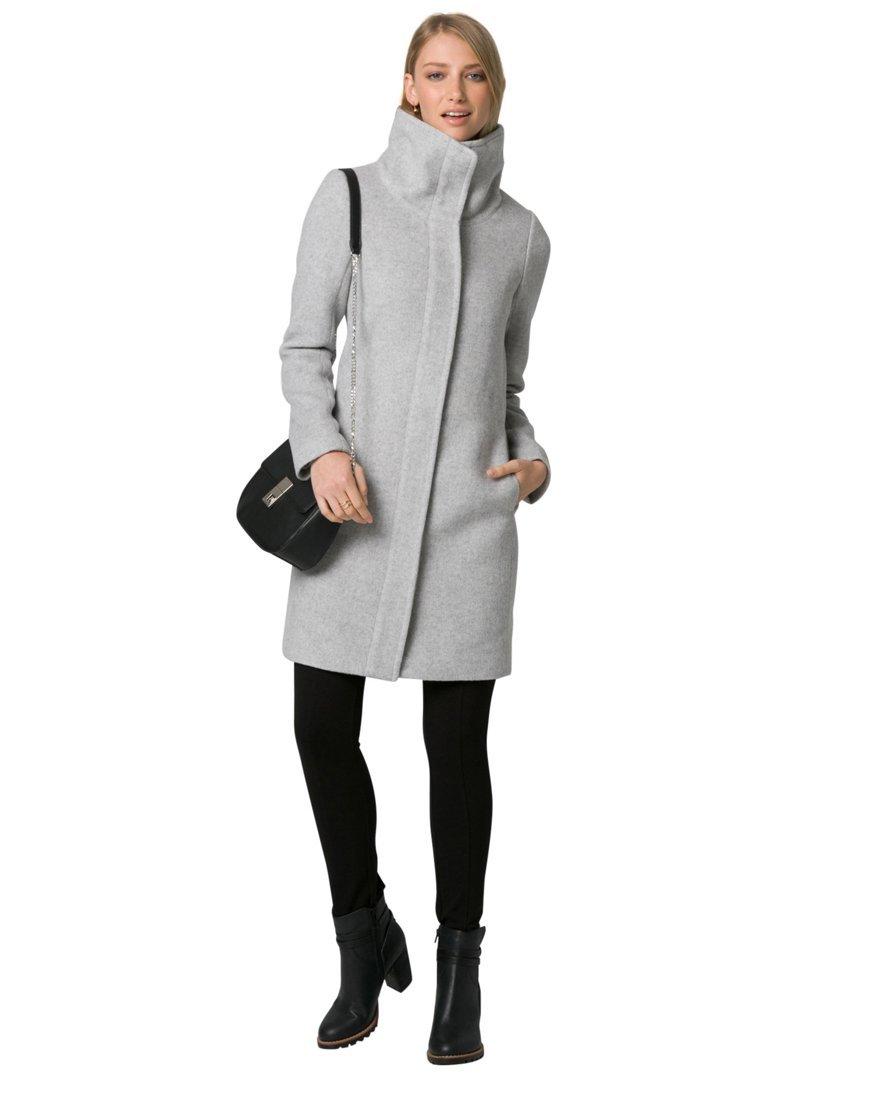 LE CHÂTEAU Women's Wool Blend Funnel Neck Coat,XL,Grey