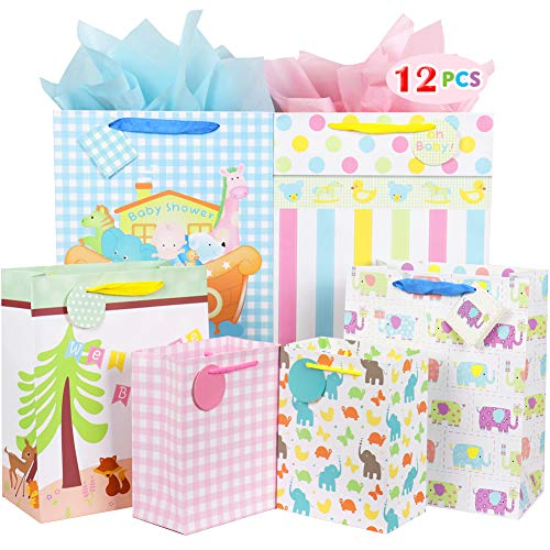 Fzopo Baby Gift Bag Assortment, Heavy Duty Paper Gift Bags (Pack of 12 Small, Medium, Extra Large Bags for Baby Shower, Birthday, Parties, Baby Girl, and Baby ()